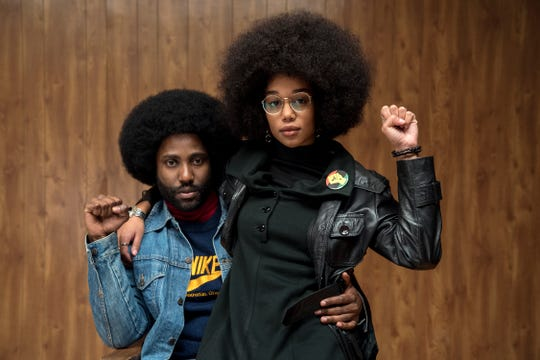 "John David Washington stars as Ron Stallworth and Laura Harrier as Patrice in Spike Lee's ""BlacKkKlansman,"" a Focus Features release."