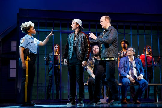 "Tamika  Lawrence (from left),  Sawyer  Nunes,  Jay  Klaitz  (seated),  Paul  Whitty,  Paul  Whitty,  Manu  Narayan and  Tad  Wilson  (seated) in ""Gettin' The Band Back Together"" on Broadway."