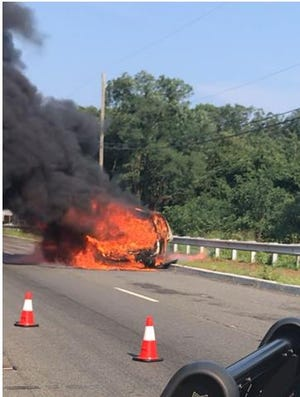 Nobody was hurt in  a car fire Monday, police said.
