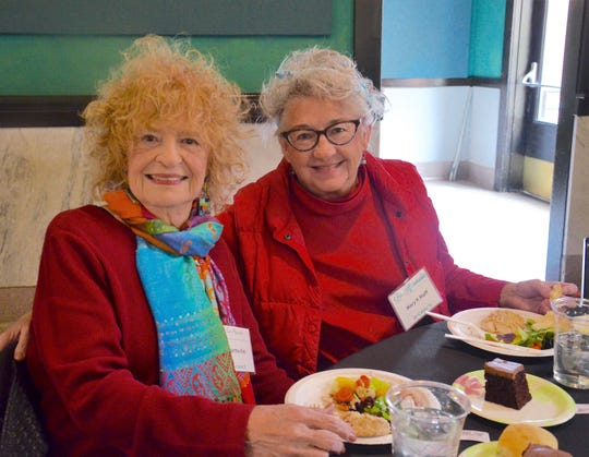 Martha Kiel, left, with her daughter and fellow artist, Mary K. Huff, at a Los Aficianados luncheon at The Grace Museum.
