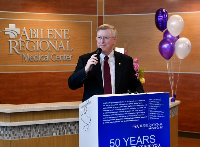 Abilene Regional Medical Center CEO Mike Murphy speaks during the 50th anniversary celebration of the hospital Tuesday.