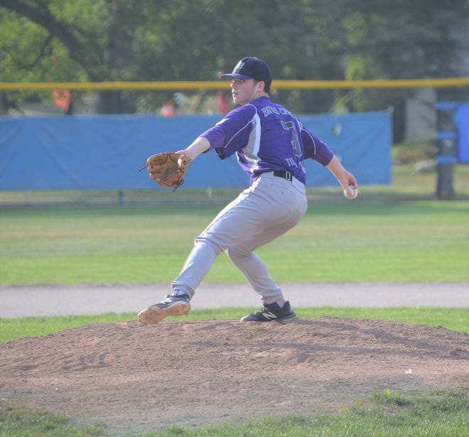 Zach Dehn pitches for Battle Creek Merchants in action earlier this year. The Merchants will be the host team for the 105th NABF World Series in Bailey Park this week.