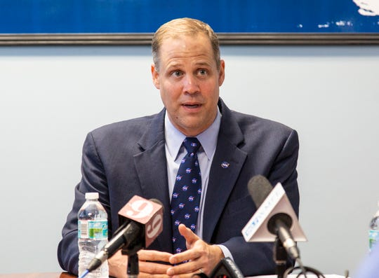 NASA Administrator Jim Bridenstine spoke to reporters at Kennedy Space Center during his first Space Coast visit as agency chief on Aug. 7, 2018.