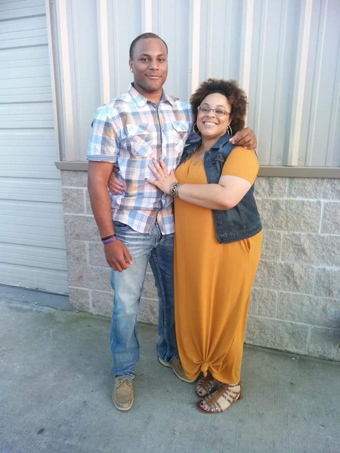 Armonie Brown is seen here with his mother, LaVena Williams. Brown is one of South Texas' most recruited football players and after Hurricane Harvey is back living with his mother.