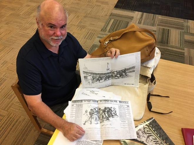 Michael O'Bryant displays newspaper sketches of scenes from early Cincinnati football games. The Cincinnati Daily Gazette announced the genesis of Greater Cincinnati high school football with a 2:30 p.m. Saturday, Nov. 27, 1878, game between Woodward and Hughes high schools.