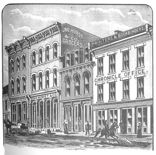 The Clarksville Chronicle office, before the 1890 merger with The Tobacco Leaf.