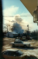 The smoke following the 1982 explosion at the home of Andrew and Patricia Puskas in Middlesex Borough.