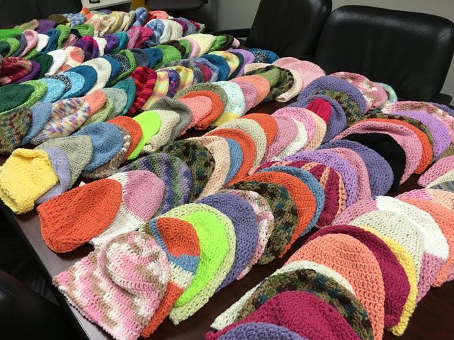 These are the 200 hats I delivered to Memorial Sloan Kettering Cancer Center and Rutgers Cancer Institute of New Jersey on Aug. 3. Thank you for all your hard work on these.