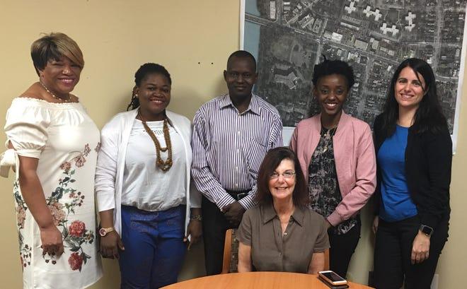 Mayor Gayle Brill Mittler, Borough Administrator Teri Jover, Councilwoman Elsie Foster-Dublin with Mandela Fellows.