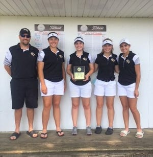 The River View girls golf team won the 18-hole scramble on Monday at Belmont Hills Country Club. The team consists of Marie Stufflebean, Emma Anderson, Shelby Byland and Madalyn Cutshall and is coached by Bill Stufflebean.