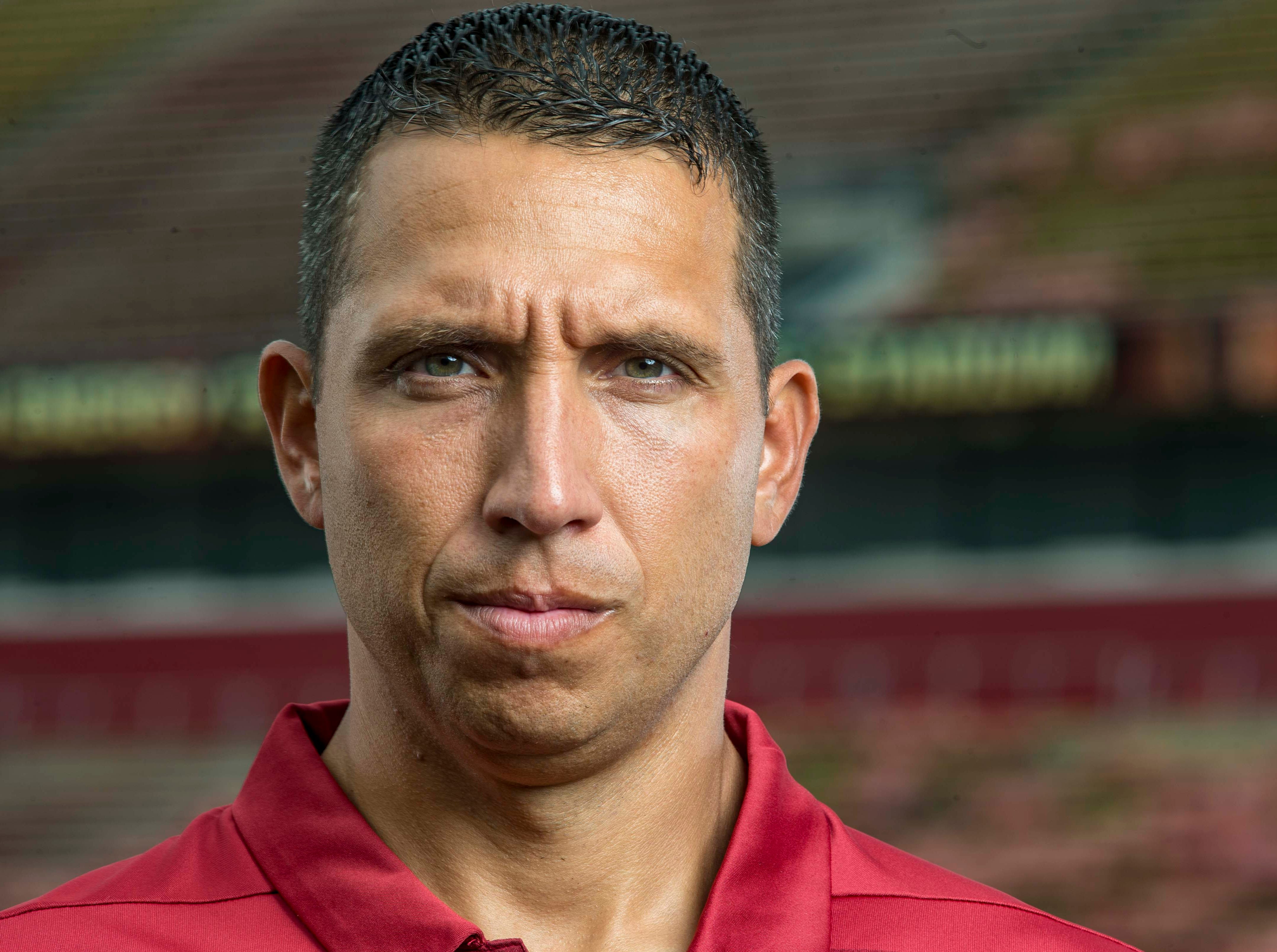 Head coach Matt Campbell during Iowa State University's football media day Tuesday, Aug. 7, 2018,, in Ames, Iowa.