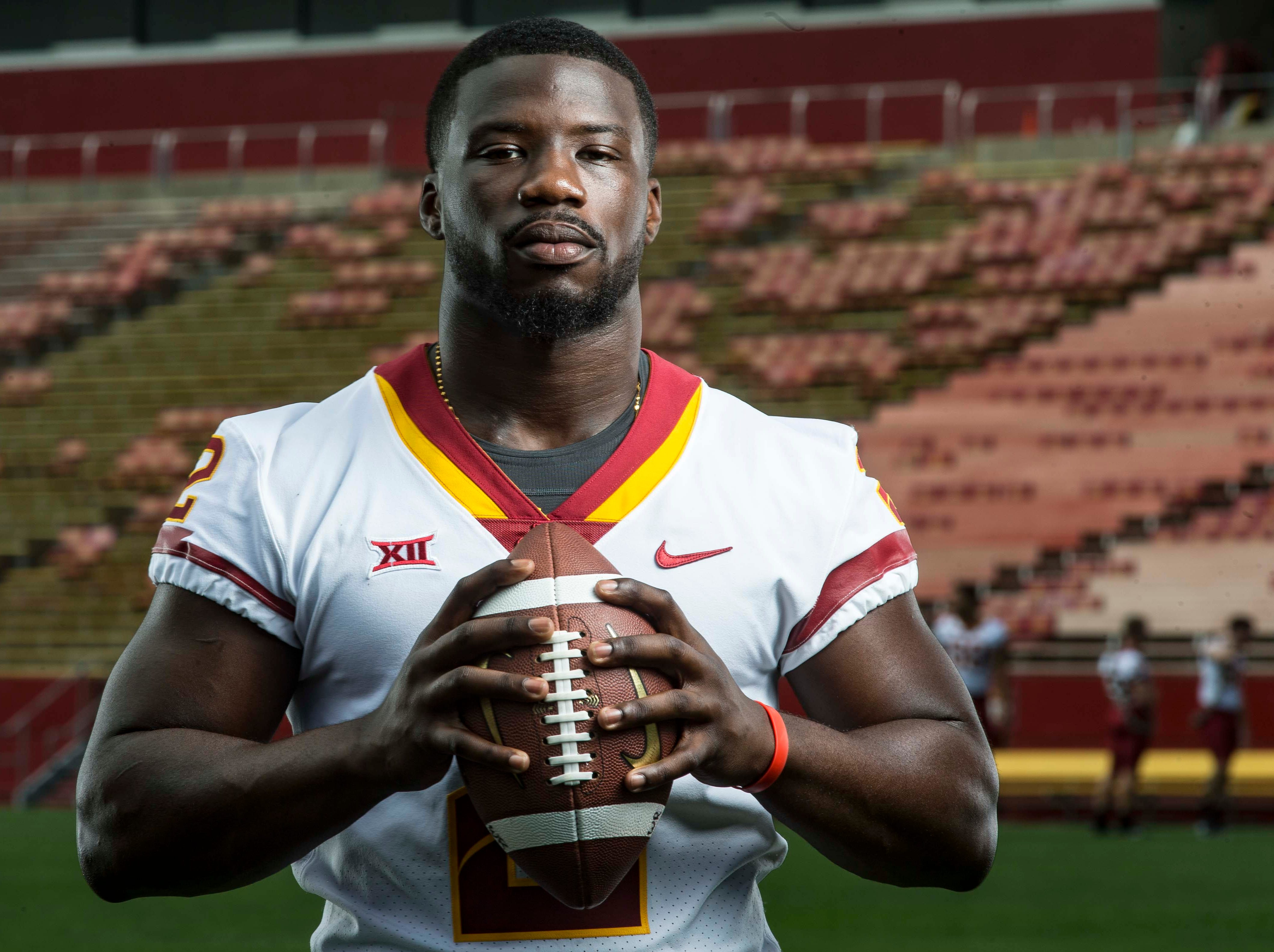 Willie Harvey senior linebacker during Iowa State University's football media day Tuesday, Aug. 7, 2018,, in Ames, Iowa.