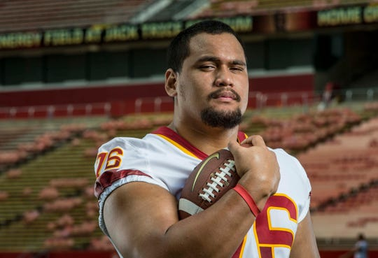 Ray Lima junior defensive lineman during Iowa State University's football media day Tuesday, Aug. 7, 2018,, in Ames, Iowa.