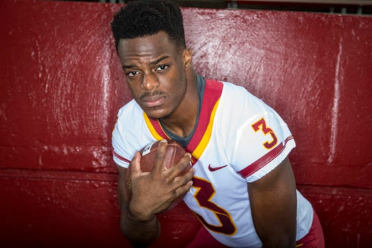 Kene Nwangwu, sophomore running back  during Iowa State University's football media day Tuesday, Aug. 7, 2018,, in Ames, Iowa.