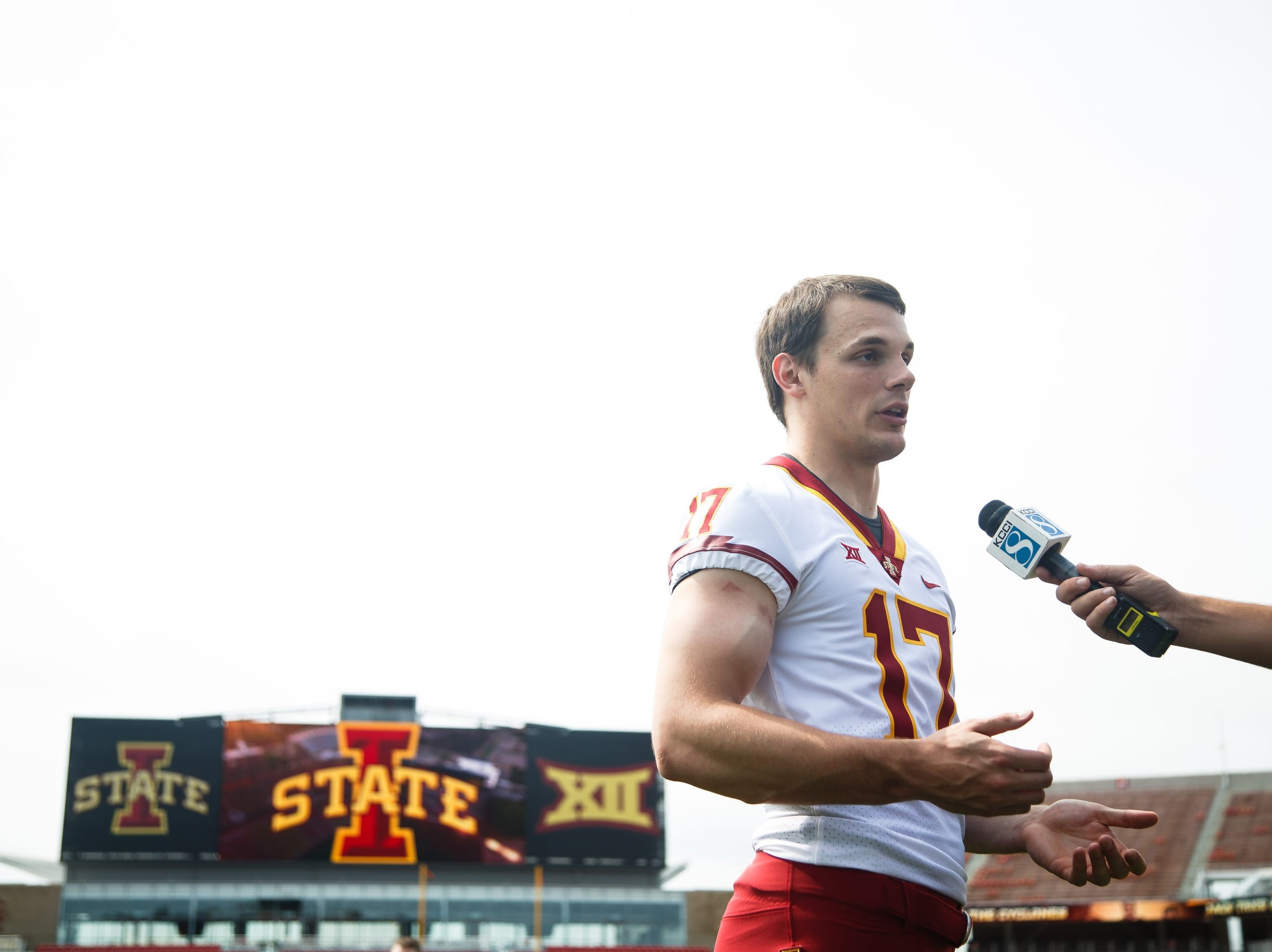 Iowa State quarterback Kyle Kempt talks to reporters during media day on Tuesday, Aug. 7, 2018 in Ames.