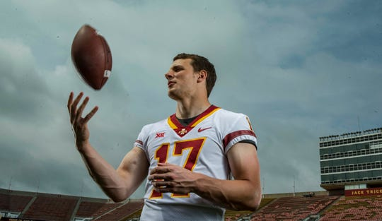 Kyle Kempt senior quarterback during Iowa State University's football media day Tuesday, Aug. 7, 2018,, in Ames, Iowa.