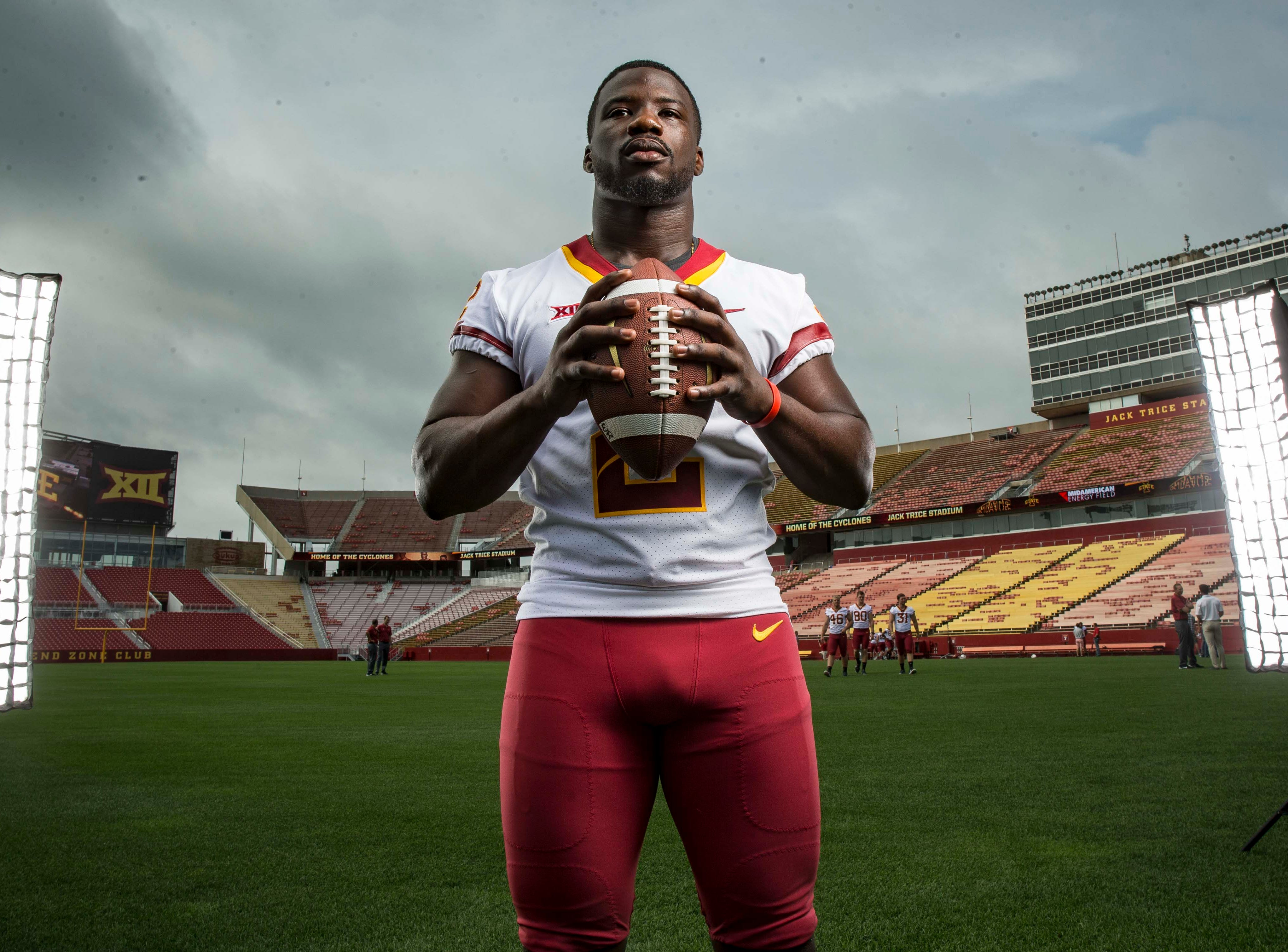 during Iowa State University's football media day Tuesday, Aug. 7, 2018,, in Ames, Iowa.