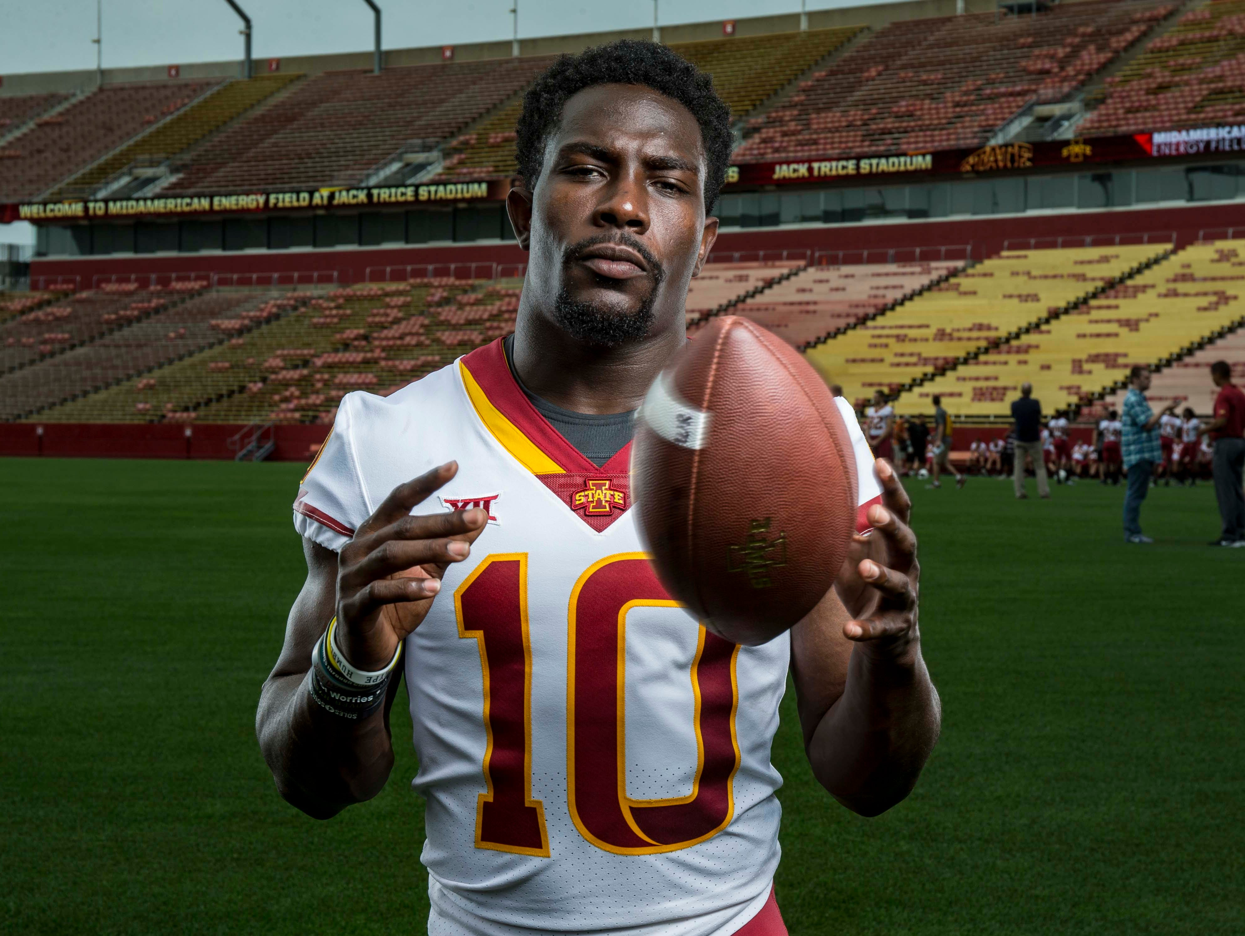 Brian Peavy senior defensive back during Iowa State University's football media day Tuesday, Aug. 7, 2018,, in Ames, Iowa.