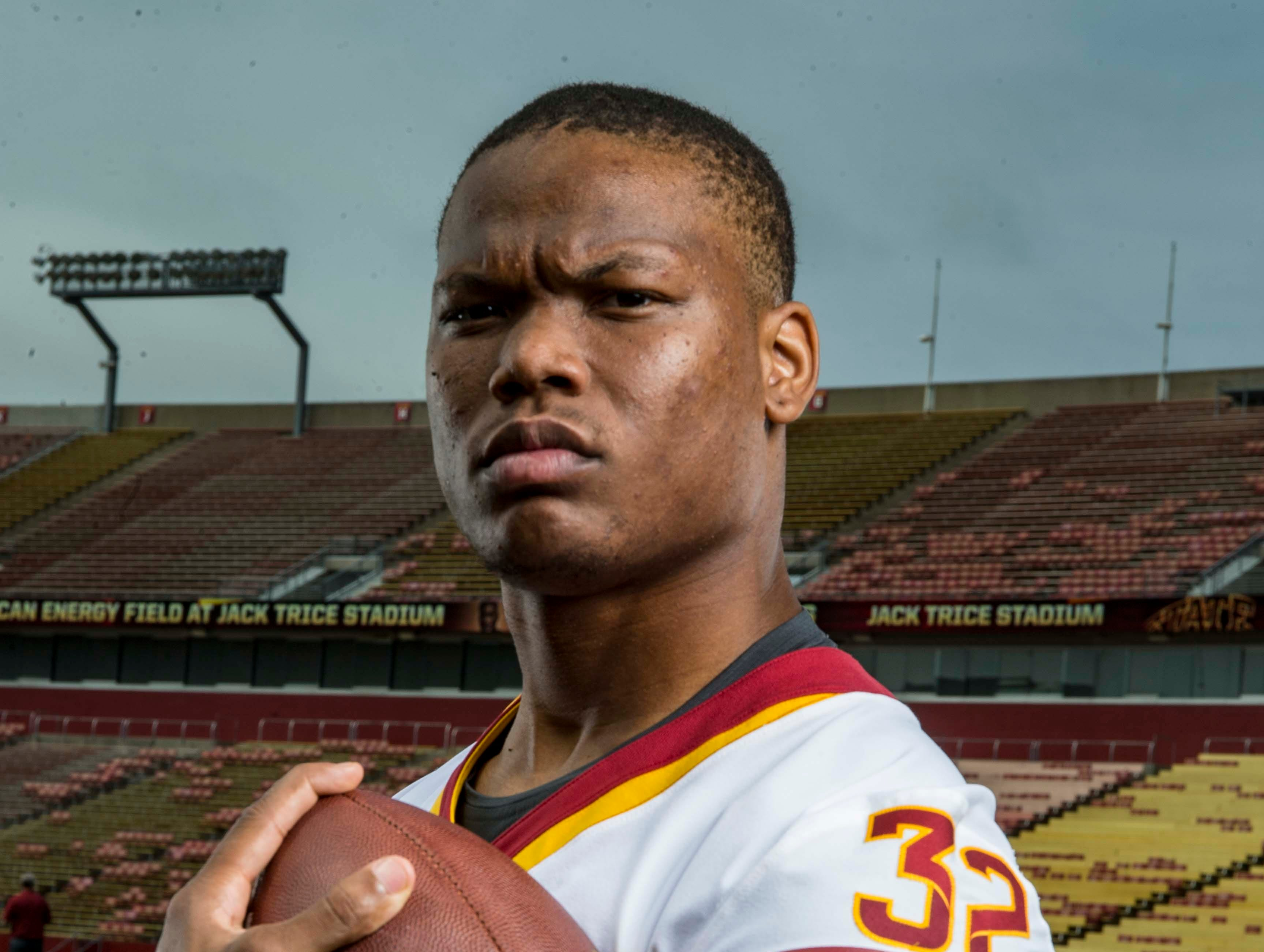 David Montgomery junior running back during Iowa State University's football media day Tuesday, Aug. 7, 2018,, in Ames, Iowa.
