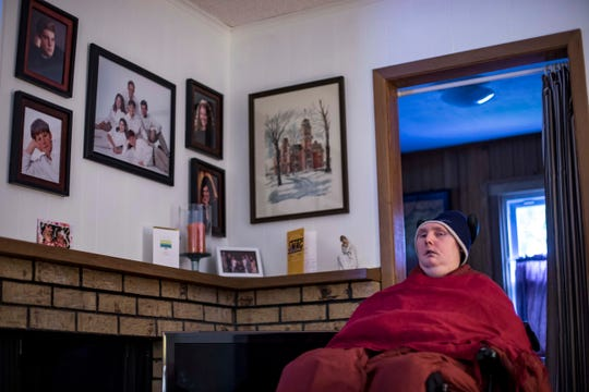 Matthew Hudson, 30, at his home in Windsor Heights last month. Matthew is profoundly disabled and needs around the clock care.