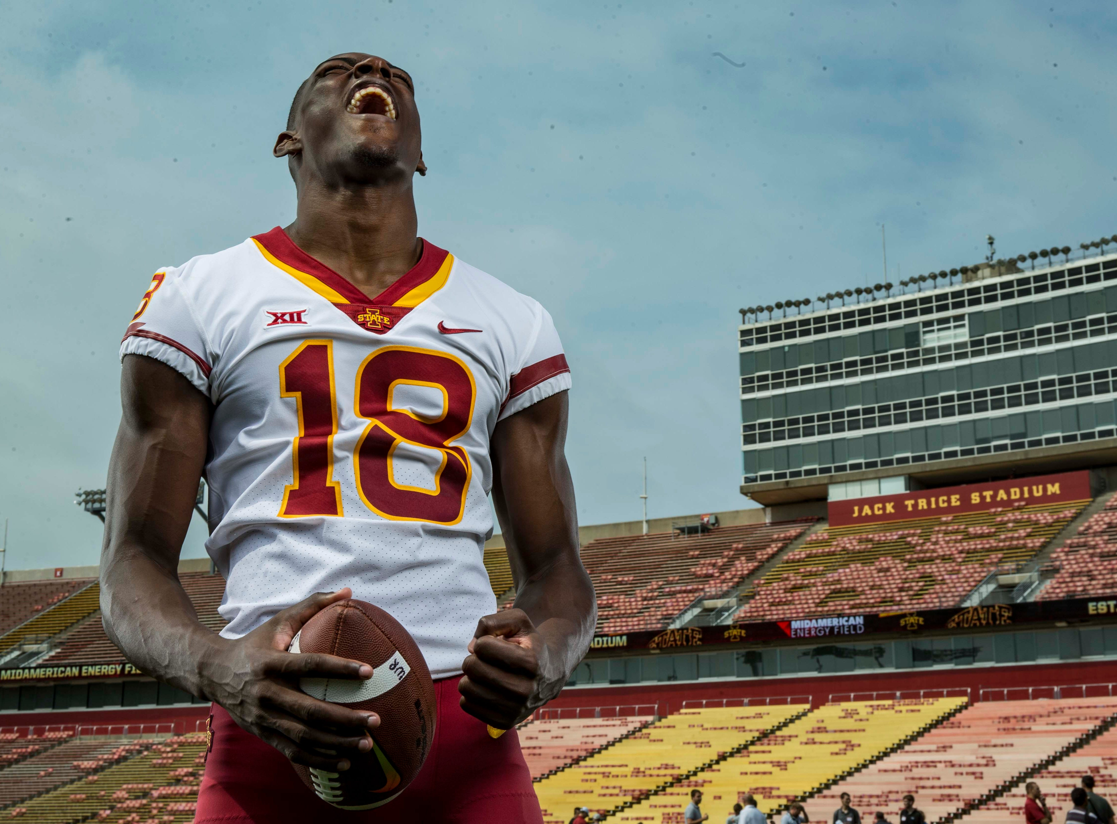 Hakeem Butler junior wide receiver during Iowa State University's football media day Tuesday, Aug. 7, 2018,, in Ames, Iowa.