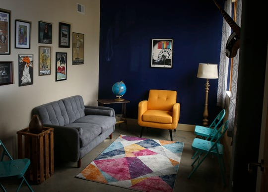 The listening room at Vinyl Cup, a new record store that will open soon owned by Luke Dickens, will offer music lovers an opportunity to listen to records.