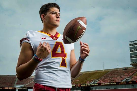Zeb Noland, sophomore quarterback during Iowa State University's football media day Tuesday, Aug. 7, 2018,, in Ames, Iowa.