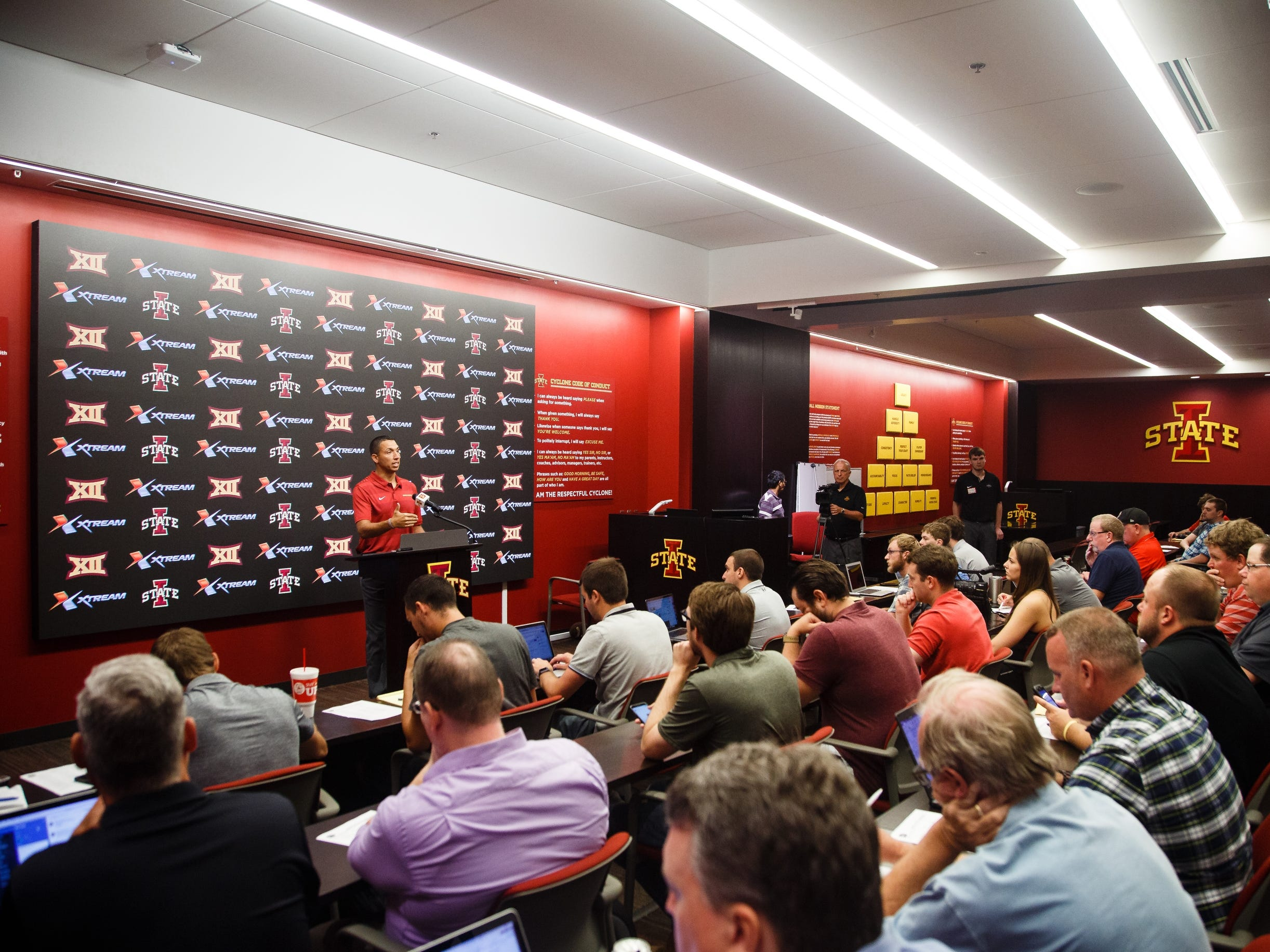 Iowa State football head coach Matt Campbell talks to members of the press during media day on Tuesday, Aug. 7, 2018 in Ames.