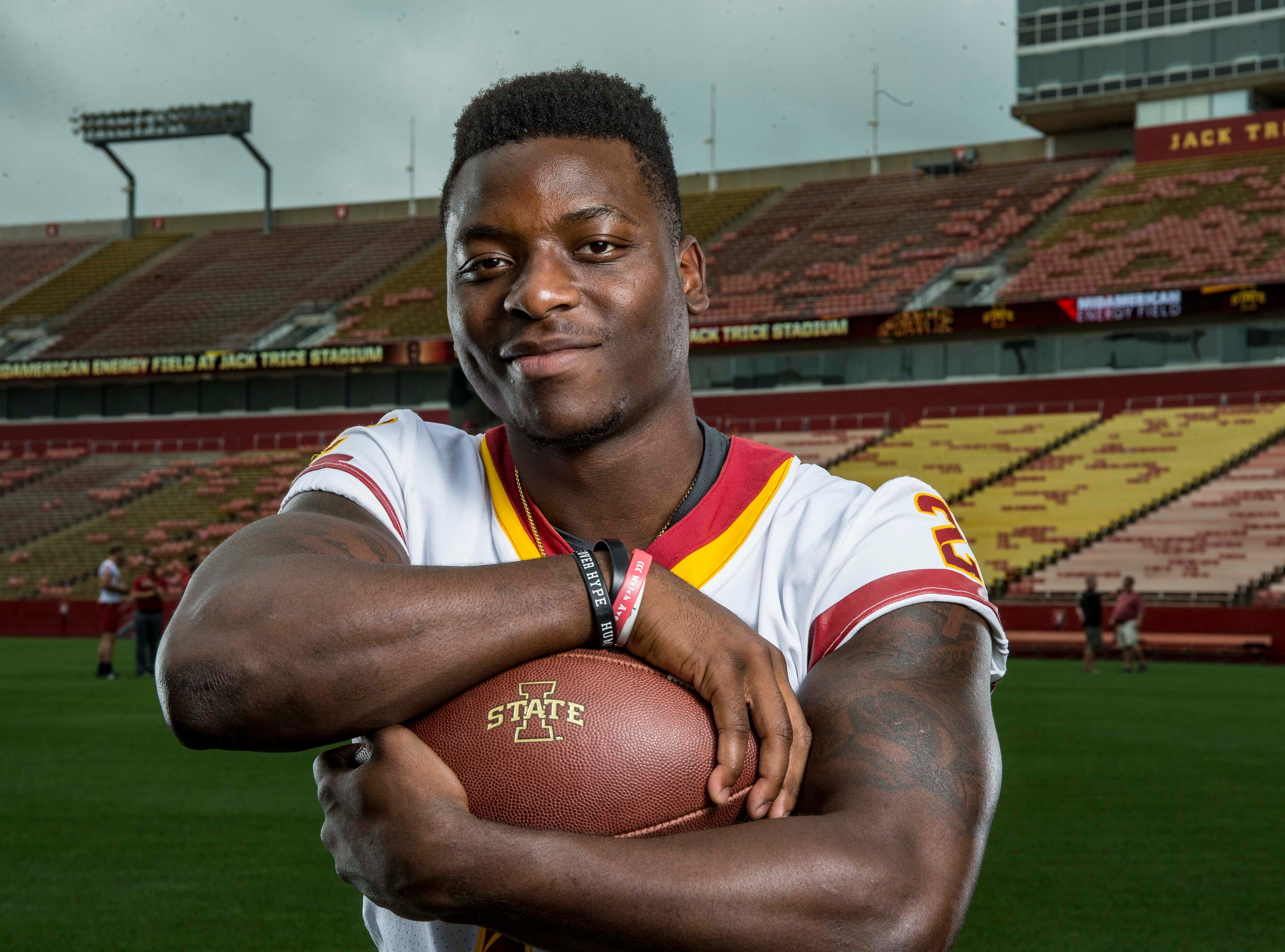 Mike Warren senior running back during Iowa State University's football media day Tuesday, Aug. 7, 2018,, in Ames, Iowa.