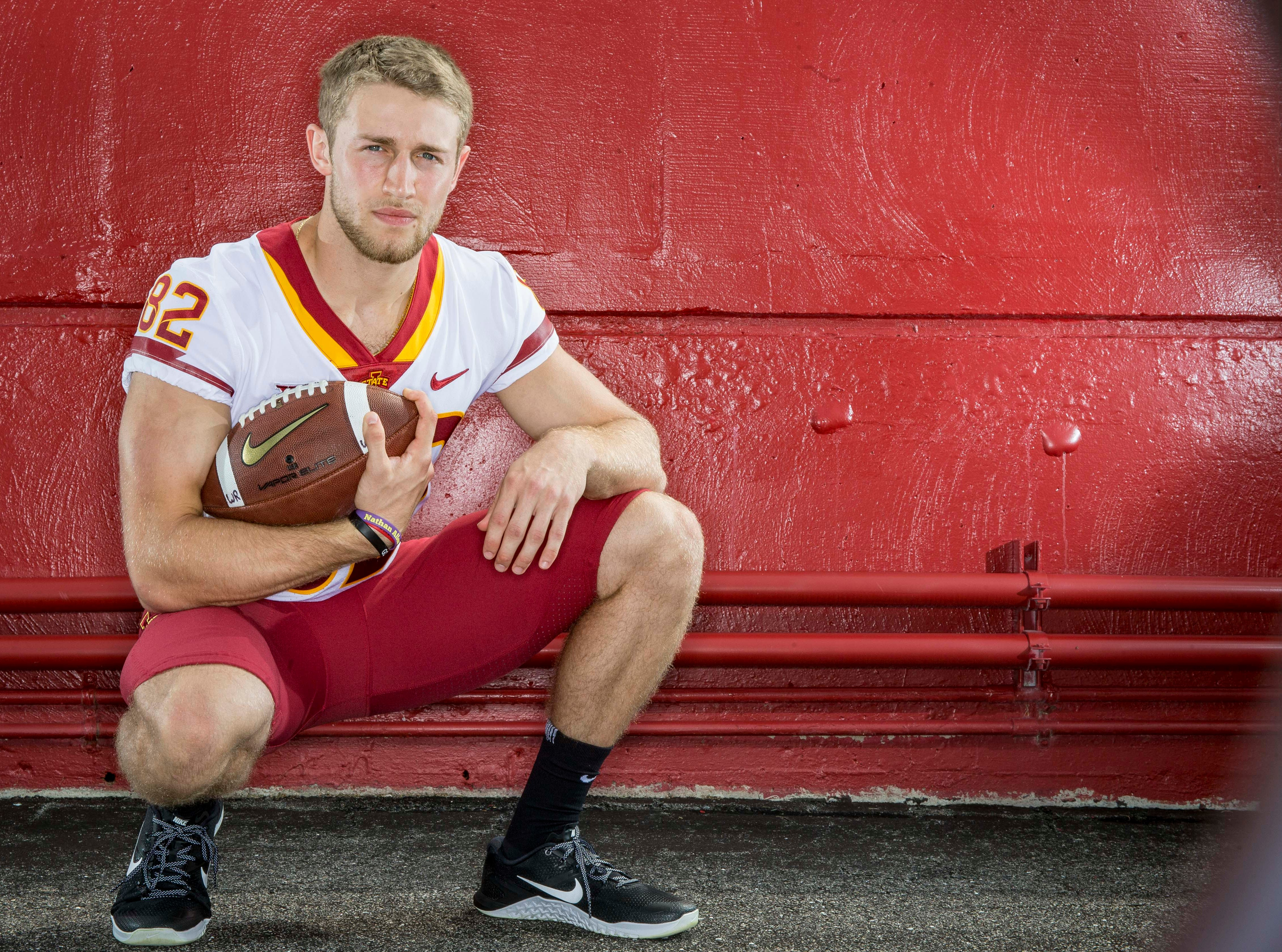 Landen Akers sophomore wide receiver during Iowa State University's football media day Tuesday, Aug. 7, 2018,, in Ames, Iowa.