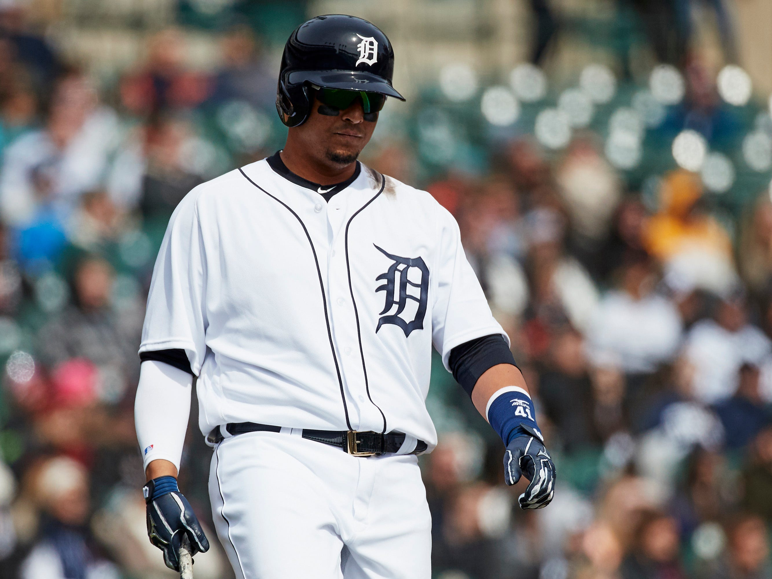 April 1 in Detroit: Pirates 1, Tigers 0. Victor Martinez reacts after he flies out in the seventh inning at Comerica Park.