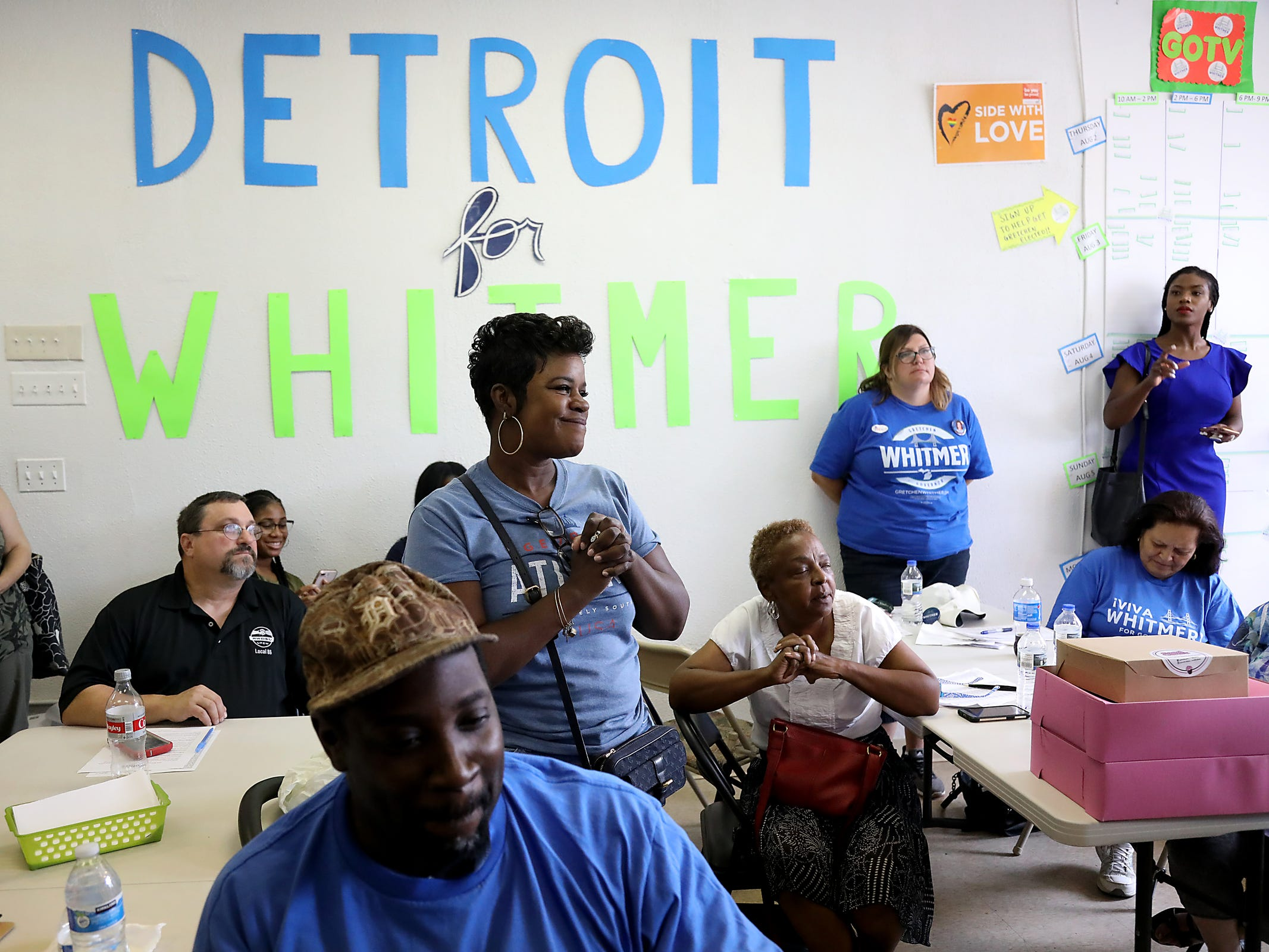 Supporters listen to Gubernatorial Democratic Candidate Gretchen Whitmer speak at her campaign headquarters on the  Livernois Avenue of Fashion on Michigan Primary day on Tuesday, Aug. 7, 2018.