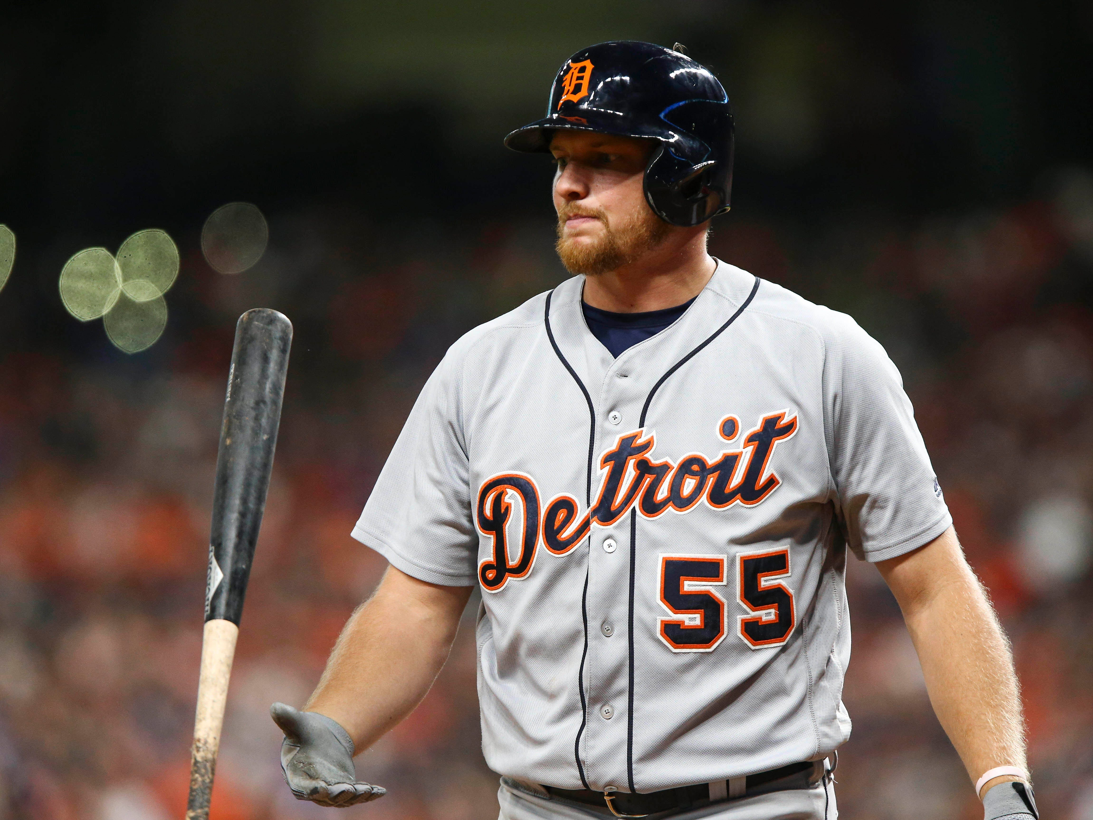 July 13 in Houston: Astros 3, Tigers 0. John Hicks flips his bat after striking out during the eighth inning at Minute Maid Park.