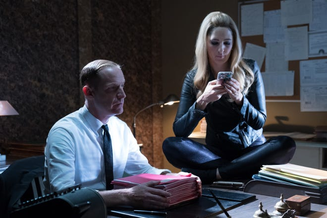 Scene from NBC's 'The Good Place' with Marc Evan Jackson and  D'Arcy Carden.