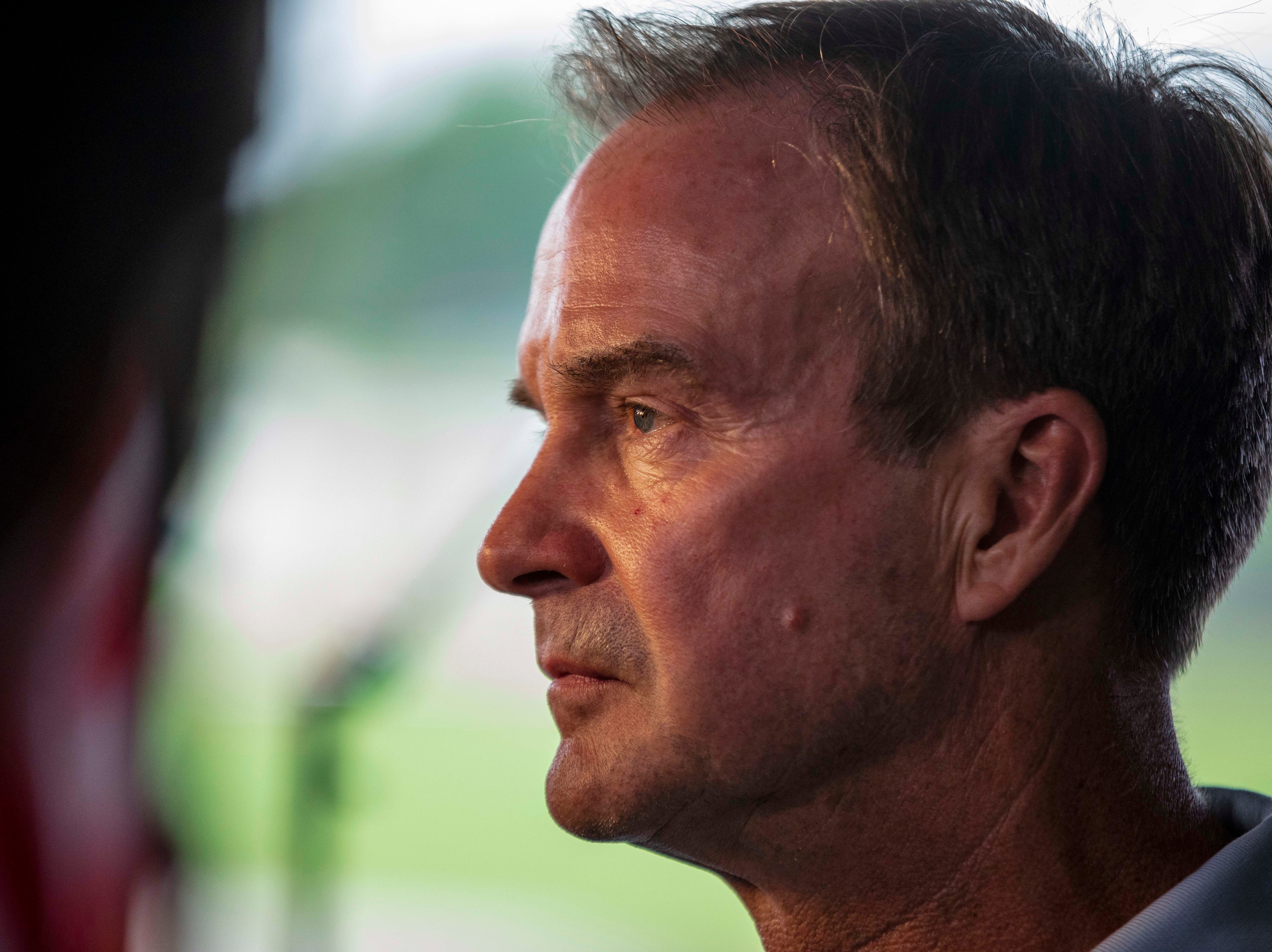 Michigan Republican gubernatorial candidate, Bill Schuette, speaks to members of the media ahead of his election day party at Dow Diamond in Midland, Mich., Tuesday, Aug. 7, 2018.