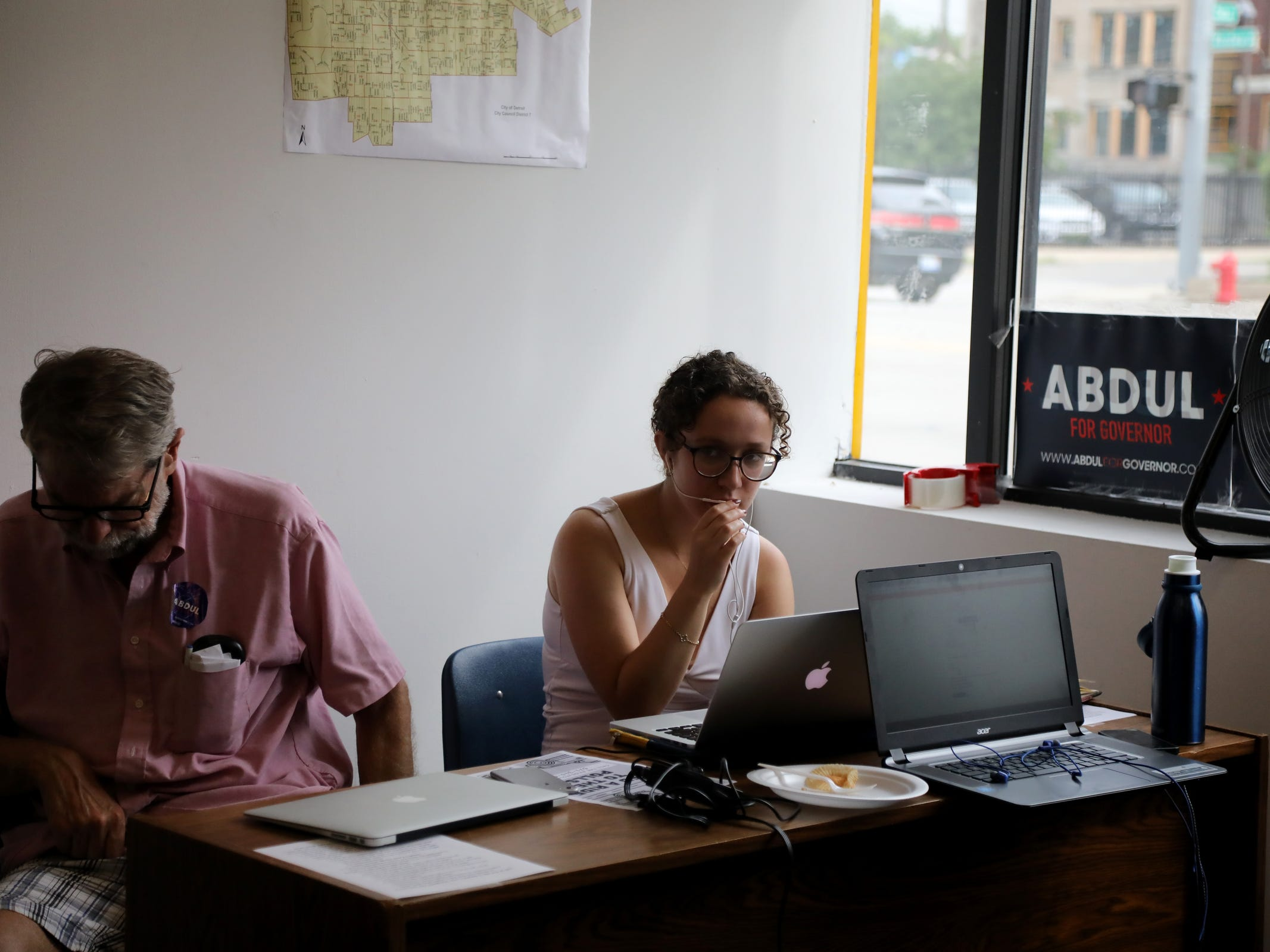 Organizers make phone calls to voters on Michigan Primary day at the campaign headquarters for Gubernatorial Democratic Candidate Dr. Abdul El-Sayed in Detroit on Tuesday, Aug. 7, 2018.