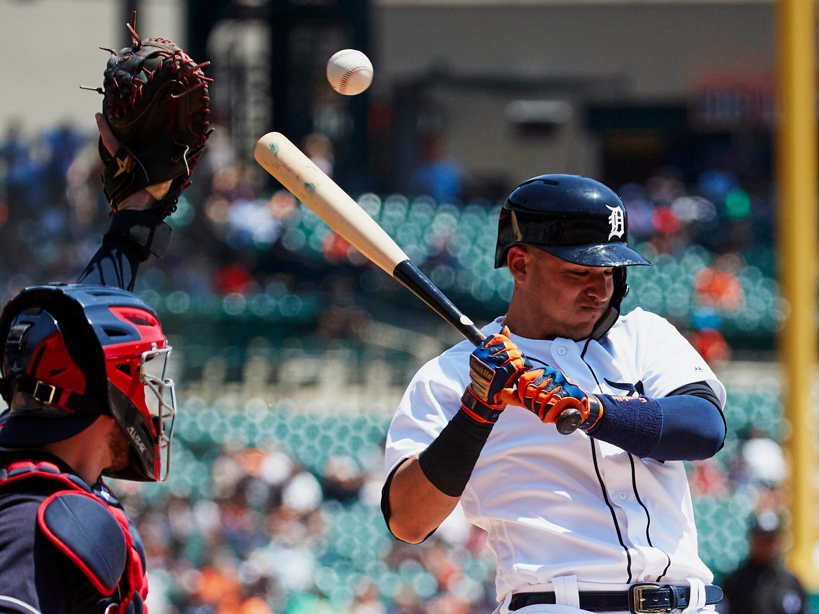 May 16 in Detroit: Indians 6, Tigers 0. Jose Iglesias avoids an inside pitch in the third inning against the Indians at Comerica Park.