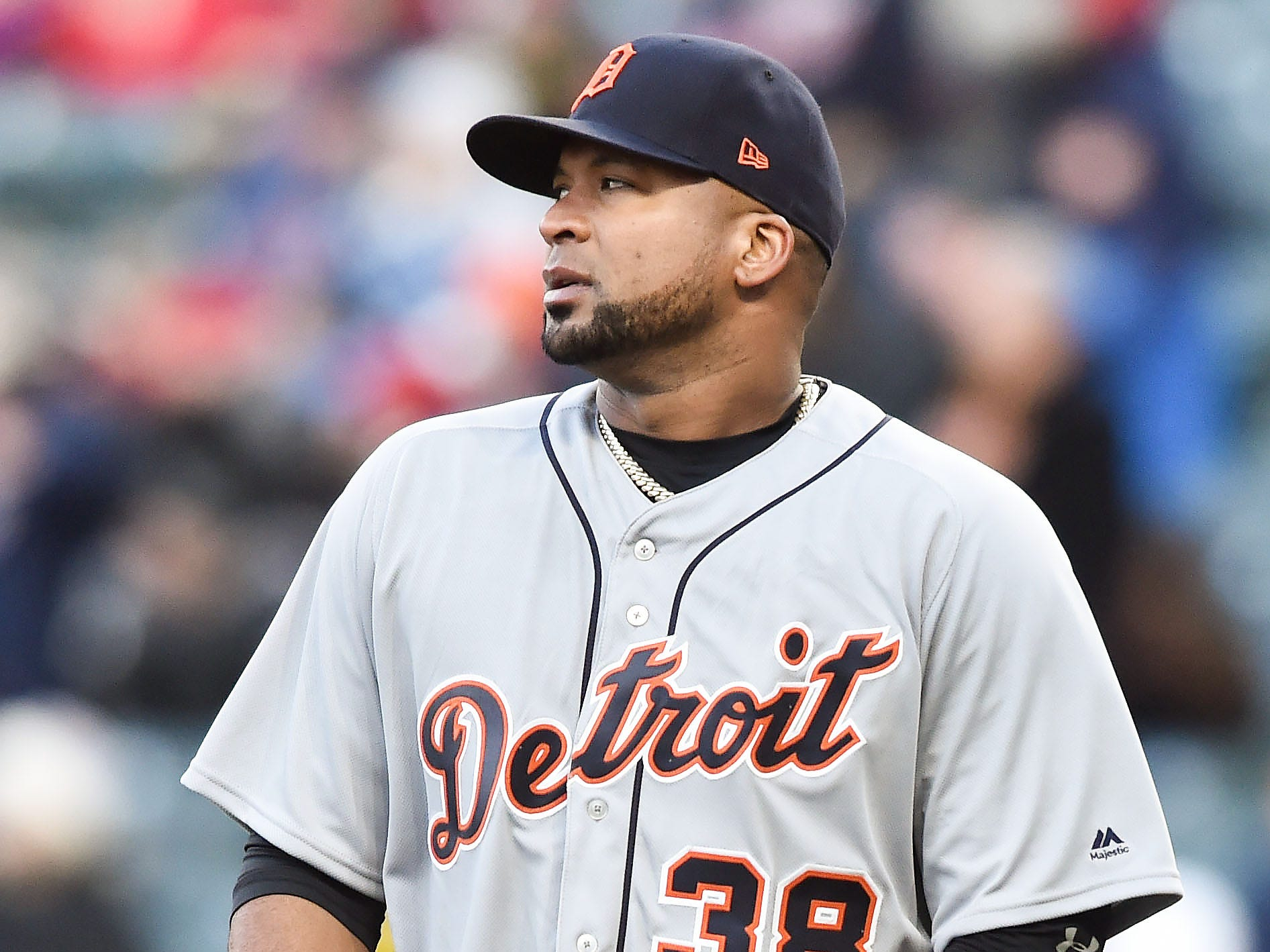 April 9 in Cleveland: Indians 2, Tigers 0. Francisco Liriano reacts after giving up a two-run home run to Bradley Zimmer in the fifth inning at Progressive Field.
