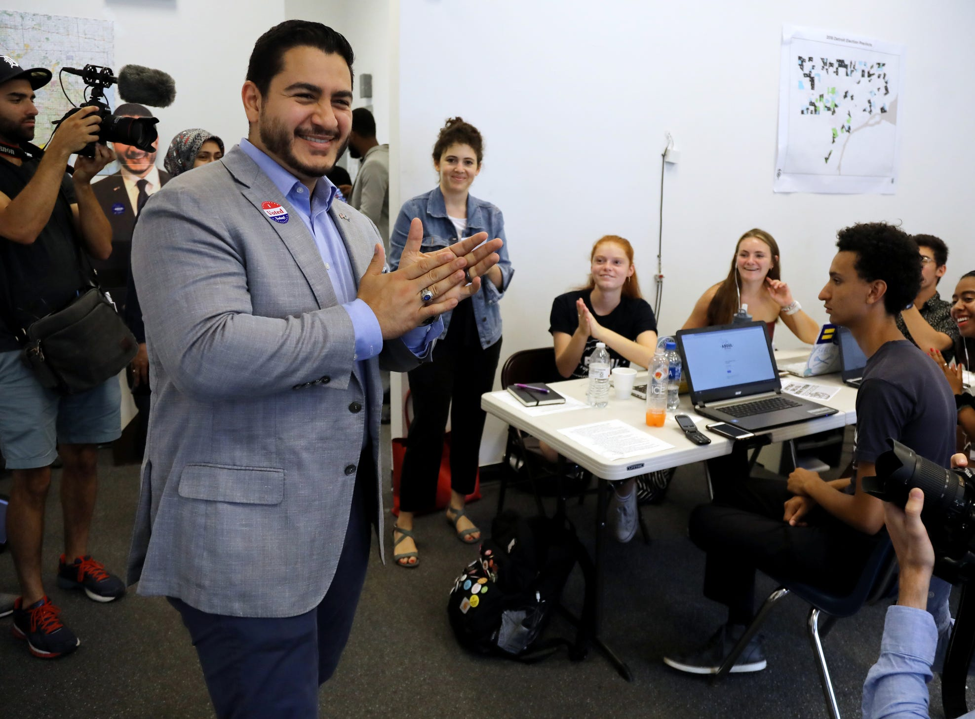 Democratic gubernatorial candidate Dr. Abdul El-Sayed visits his campaign headquarters in Detroit on Tuesday, Aug. 7, 2018.
