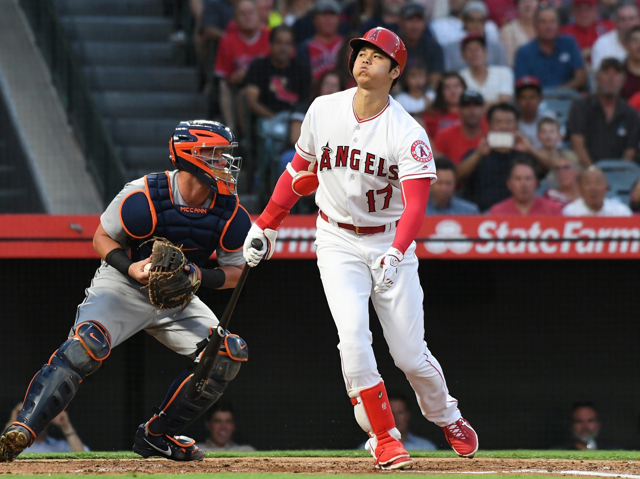 Angels designated hitter Shohei Ohtani reacts after striking out during the second inning on Monday, Aug. 6, 2018, in Anaheim, Calif.