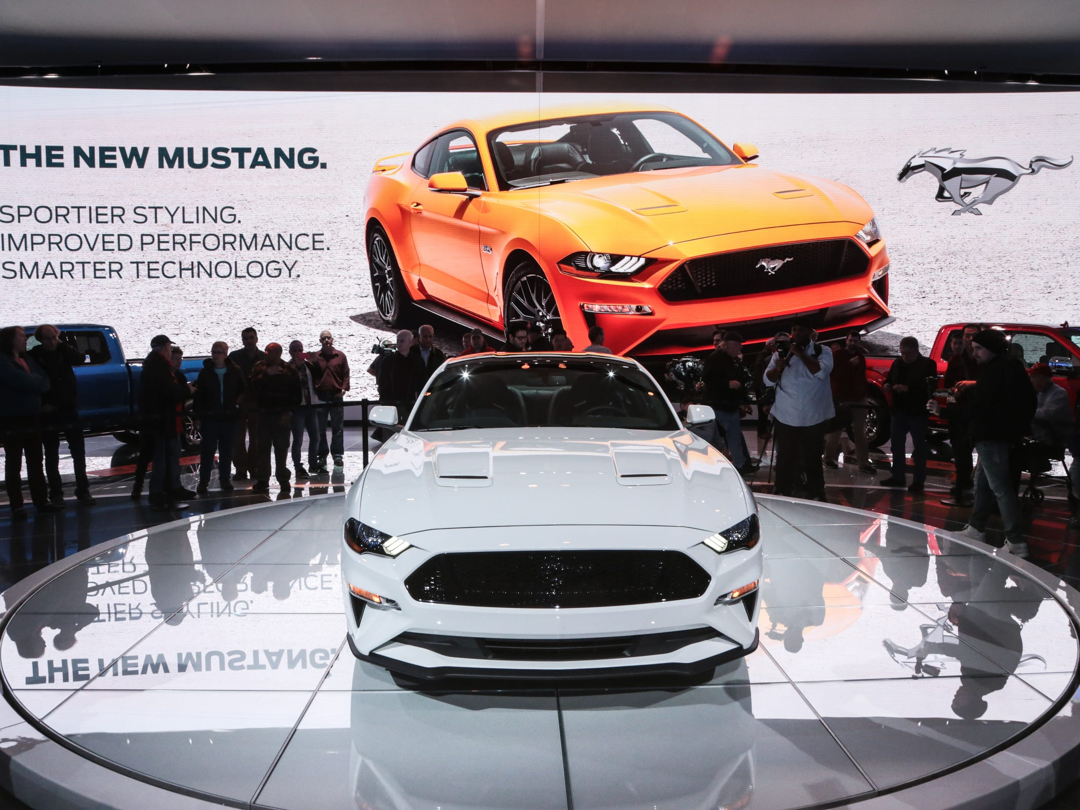 A 2018 Ford Mustang GT 5.0 with a new front end design is shown at the Ford exhibit during the 2017 North American International Auto Show at Cobo Center in Detroit in January 2017.