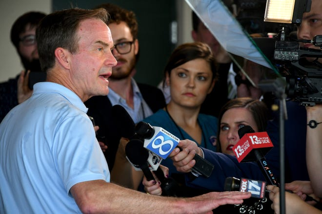 Michigan Attorney General Bill Schuette faces the media scrum just hours before the polls close on primary election day, Aug 7, 2018.  Schuette's post-election event is being held at Dow Diamond, the home of Midland's minor league baseball team.  (Dale G.Young/Detroit News) 2018.