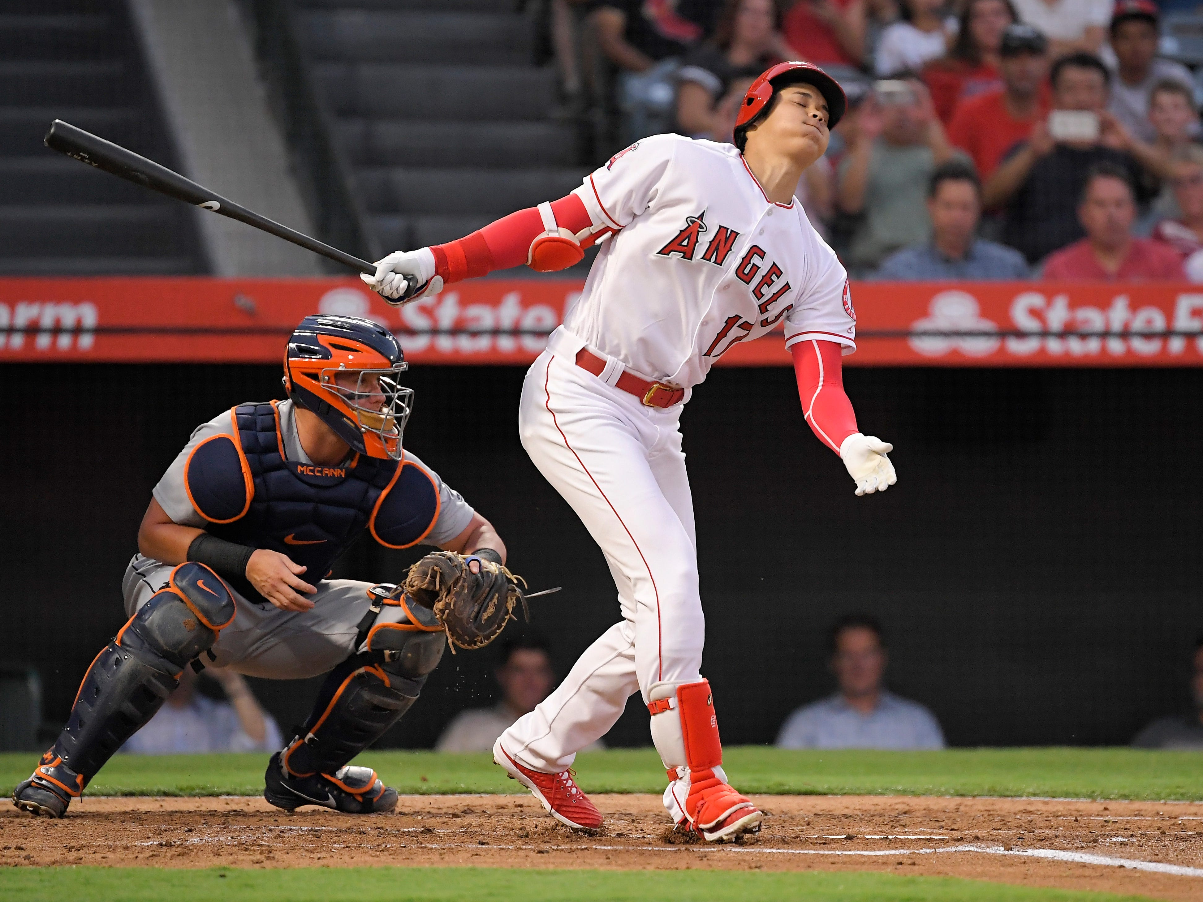 Los Angeles Angels' Shohei Ohtani, of Japan, strikes out during the second inning.