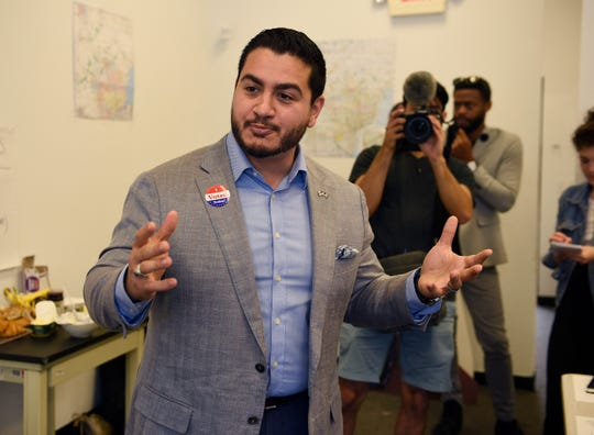 Abdul El-Sayed, Democratic candidate for governor, visits his Detroit field office Tuesday to thank all of the volunteers for their hard work on the campaign.