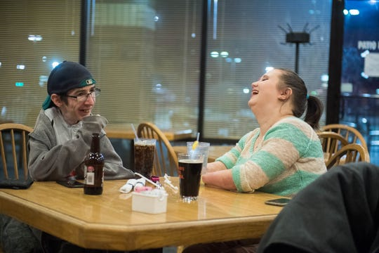 Wade Conway and Kendra Creek have a date night and a laugh at Archie & Clyde's Family Restaurant.