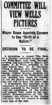 """An article announcing a censor committee will view """"Birth of a Nation"""" before being shown at Wells-Bijou Theater."""