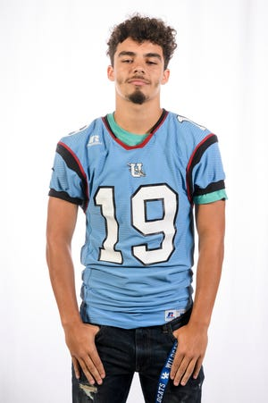 Union County High School football player Lincoln Sisk (19)