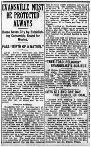"""An article from the Evansville Journal informing the censorship board passed """"Birth of a Nation."""""""