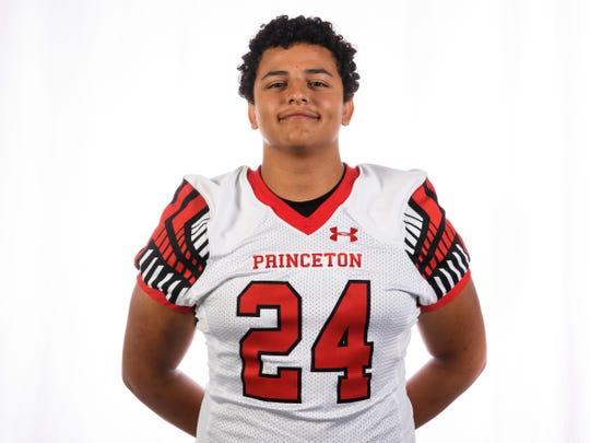 Princeton High School football player Luke Drew (24)
