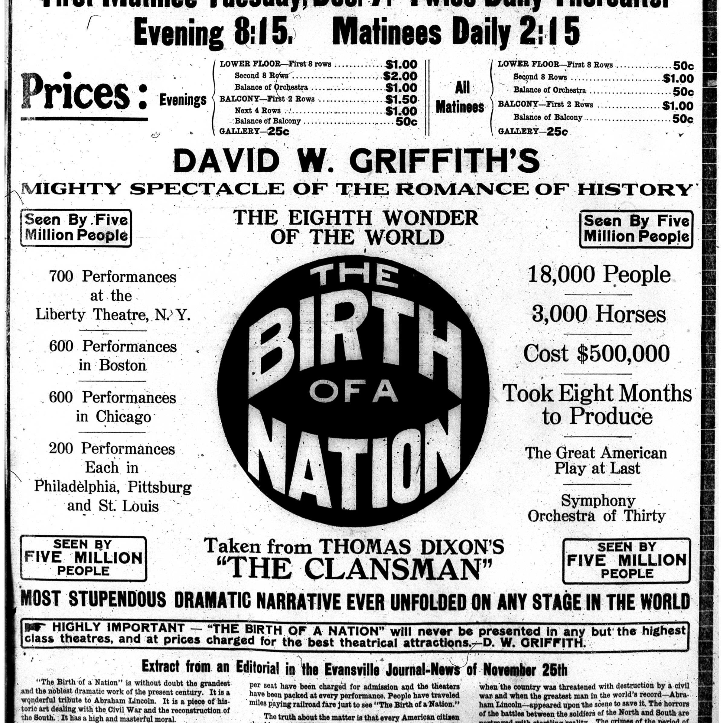 History Lesson: 'Birth of a Nation' causes ripples in Evansville